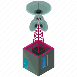 building, businesses, radio, satellite, station, technology, tower icon