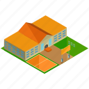 architecture, building, businesses, playground, school icon