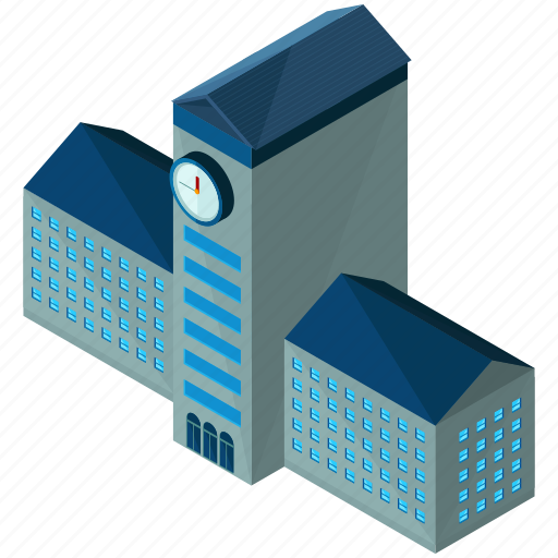 architecture, building, businesses, clock, tower, university icon