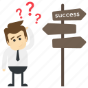 confused man, employee, key to success, pathway to success, way to success icon