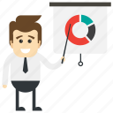 business presentation, business training, corporate address, financial analysis, product evaluation icon