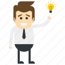 business growth ideas, creative businessman, creative manager, innovative businessman, marketing proposal icon