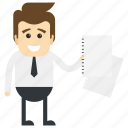 businessman holding documents, businessman recruiting, businessman with sheets, happy businessman, manager icon