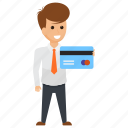 businessman card, businessman payment, corporate person, credit card holder., skills and abilities icon