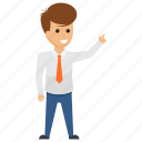 businessman finger pointing, demonstrating, employer directing, guiding staff., presenting icon
