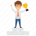 achieved success, employer trophy, gain goal, gained award, successful businessman icon