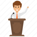 businessman speech, entrepreneurship presentation., public speaker, speech conference, staff training icon