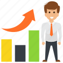 business growth, leadership., rising success, successful business, successful businessman icon
