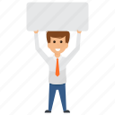 banner holding, businessman protest, placard, sign board icon
