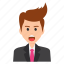 amazed look, astonished businessman, businessperson, shocked expressions, surprised businessman icon