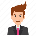 business character, businessman laughing, cheerful face, happiness expressions, manager smiling icon