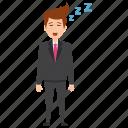 falling asleep, fatigue, hangover, lazy man, sleepy businessman icon