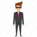 be like a boss, bodyguard, business character, businessman with sunglasses, confident businessman icon