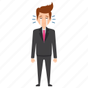 business character, business crisis, businessman crying, facial expressions, sad businessman icon