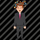 dizzy businessman, headache, sickness, star spinning around head, suffering vertigo icon