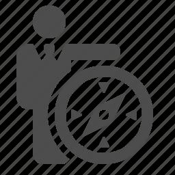 businessman, compass, direction, man, navigation icon
