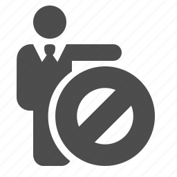 blocked, businessman, man, people, restricted, sign icon