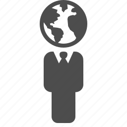 business, businessman, earth, global, globe, head, man icon
