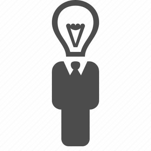 bright, businessman, idea, lightbulb, man, plan icon