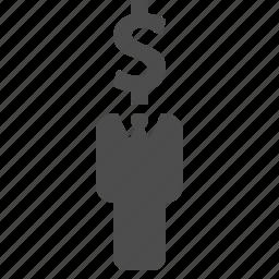 businessman, dollar, finance, head, man, money icon