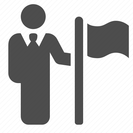 businessman, flag, location, man, marker, people icon