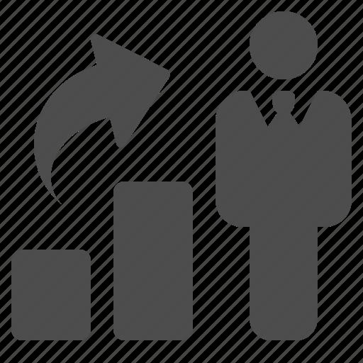 arrow, business, businessman, chart, graph, man, profit icon