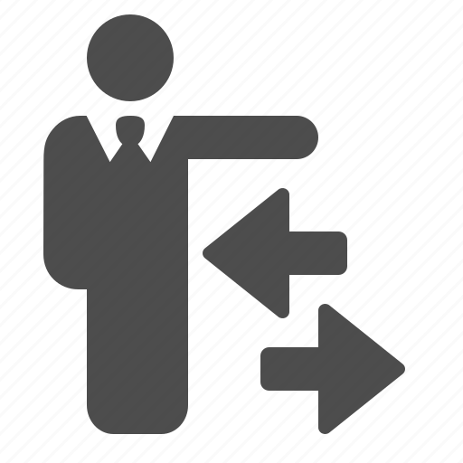 arrows, businessman, data, directions, exchange, man, people icon