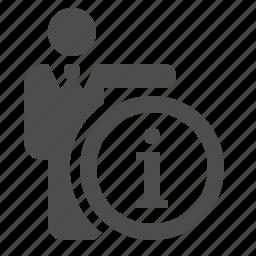 businessman, info, info button, information, man icon