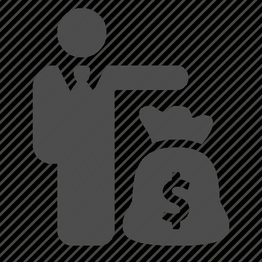banking, business, businessman, finance, man, money, moneybag icon