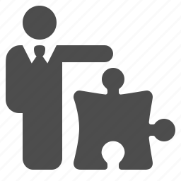 businessman, man, piece, plan, plugin, puzzle, strategy icon