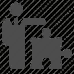 businessman, man, piece, plan, plugin, puzzle, strategy icon