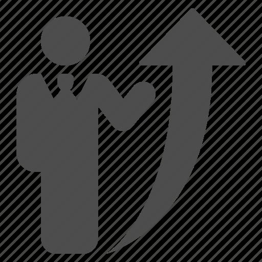 arrow, businessman, man, people, profit, profits, soaring icon