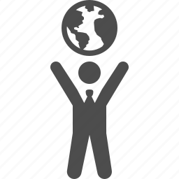 business, businessman, earth, global, globe, hands, man icon