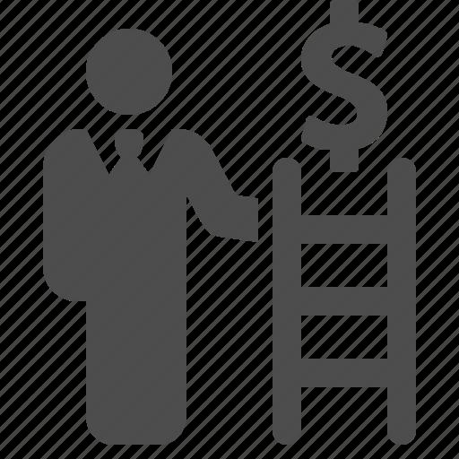 businessman, dollar, finance, ladder, money, success icon