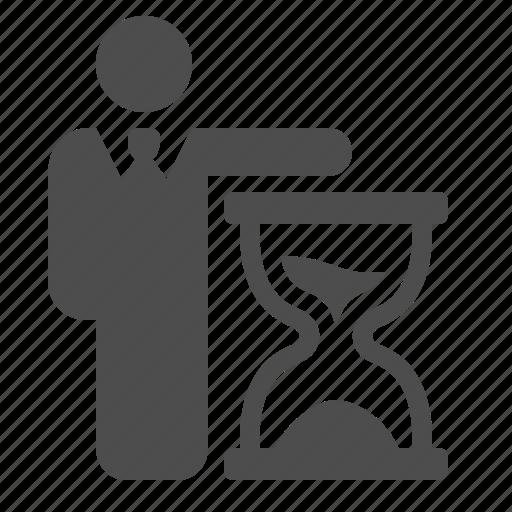 businessman, hourglass, man, sand, time icon