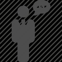 businessman, communication, man, speaking, speech, speech bubble, talking icon
