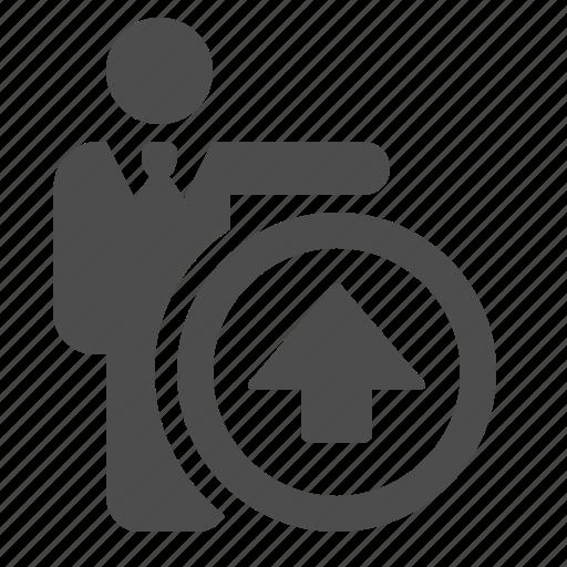 arrow, businessman, button, internet, man, up, upload icon
