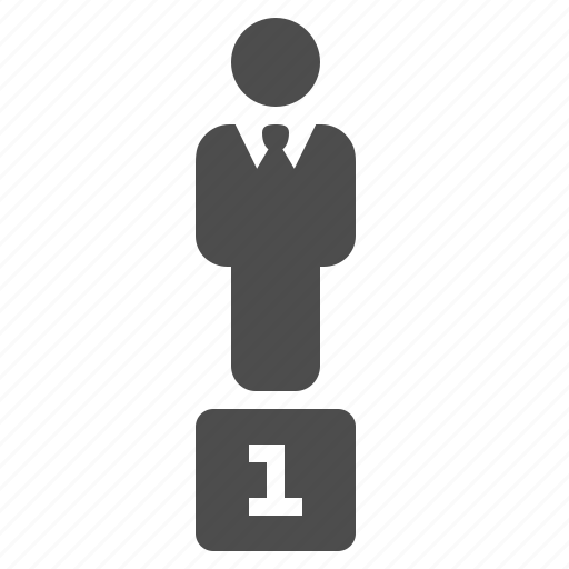 businessman, competition, first place, man, podium, trophy, winner icon