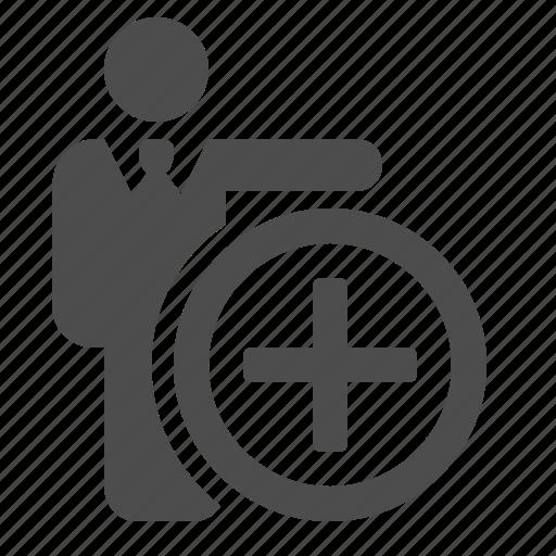 add, businessman, man, plus sign icon
