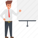 businessman with whiteboard, businessperson, consultant, instructor, presentation icon