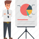 business, business analytics, presentation, statistics, whiteboard graph icon