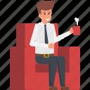 businessman having coffee, refreshment, take a break, tea break, tea mug icon