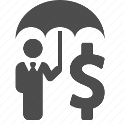 business, businessman, dollar, insurance, investment, money, umbrella icon