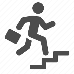 briefcase, business, businessman, climbing, man, running, stairs icon