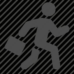 briefcase, businessman, luggage, man, running, suitcase icon