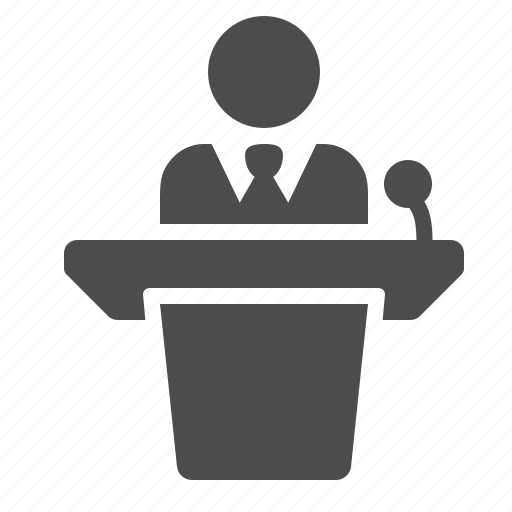 businessman, conference, interview, lecture, podium, public speaker, speech icon