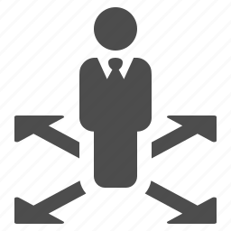 arrows, businessman, direction, directions, man icon