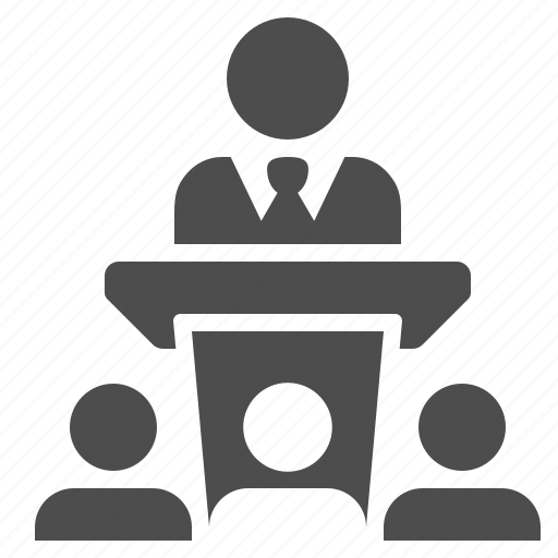 audience, business, businessman, conference, interview, podium, speech icon
