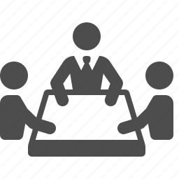 businessmen, conference, meeting, men, people, table, team icon
