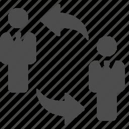 arrows, businessman, businessmen, change, exchange icon